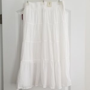 NWT! White Boho Maxi Skirt